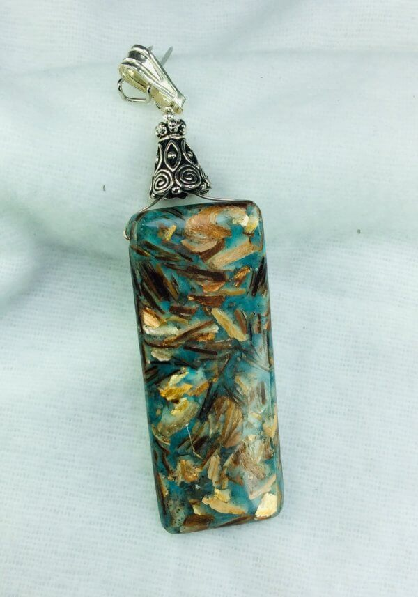 Cyan Impression Prase Jasper, sterling silver