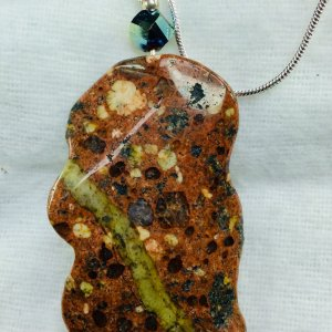 Dotted Jasper, chinese crystal, sterling silver, sterling silver snake chain