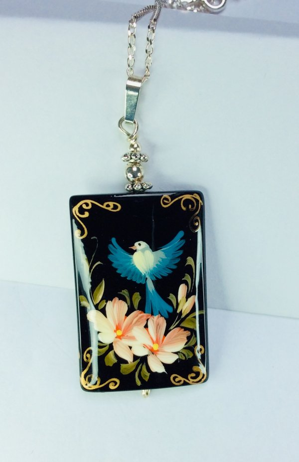 Hand painted on onyx bird, Russian signed, sterling silver chain