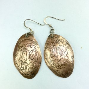 Copper etched bull dogs, sterling silver