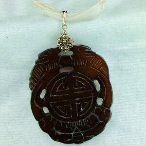 Carved Jade, sterling silver silk and Tierra Cast leadfree puter silver plat