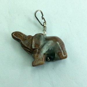 Jasper elephant, sterling silver