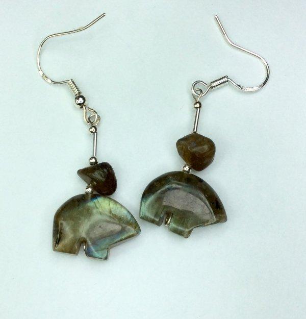 Labradorite zuni bears, sterling silver