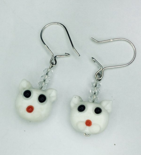 Lampwork cats, sterling silver