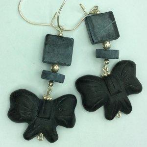 Matte black onyx bows, sterling silver