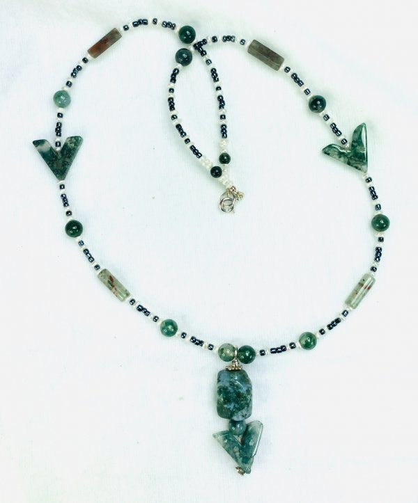 Moss and blood agate, freshwater pearl, blue hematite, sterling silver