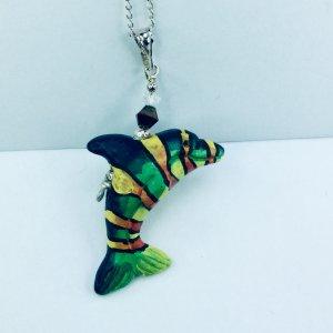 Peruvian ceramic rainbow dolphin, crystal, Sterling silver