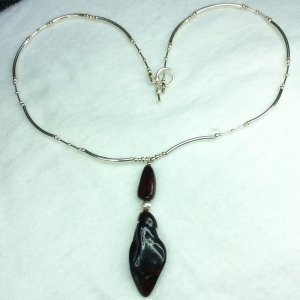 Red Baltic Amber, sterling silver