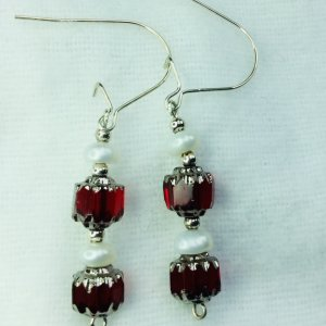 Vintage czech glass, freshwater pearl, sterling silver