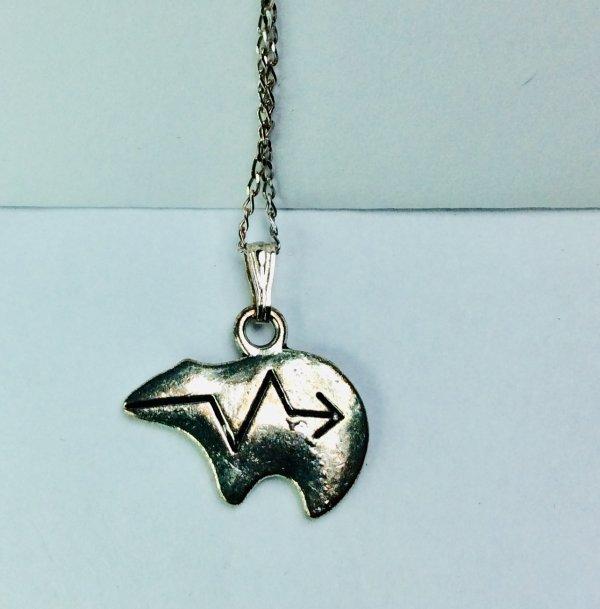 Zuni bear, Tibet silver, sterling silver sterling silver chain