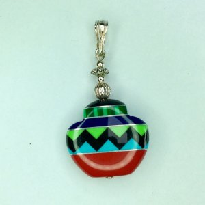 Zuni inlaid pottery, sterling silver