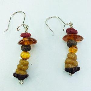 Baltic amber, myrrh, eucaliptus flower, sterling silver