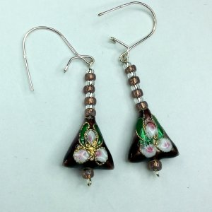 cloisonee, silver lined seed beads, sterling silver