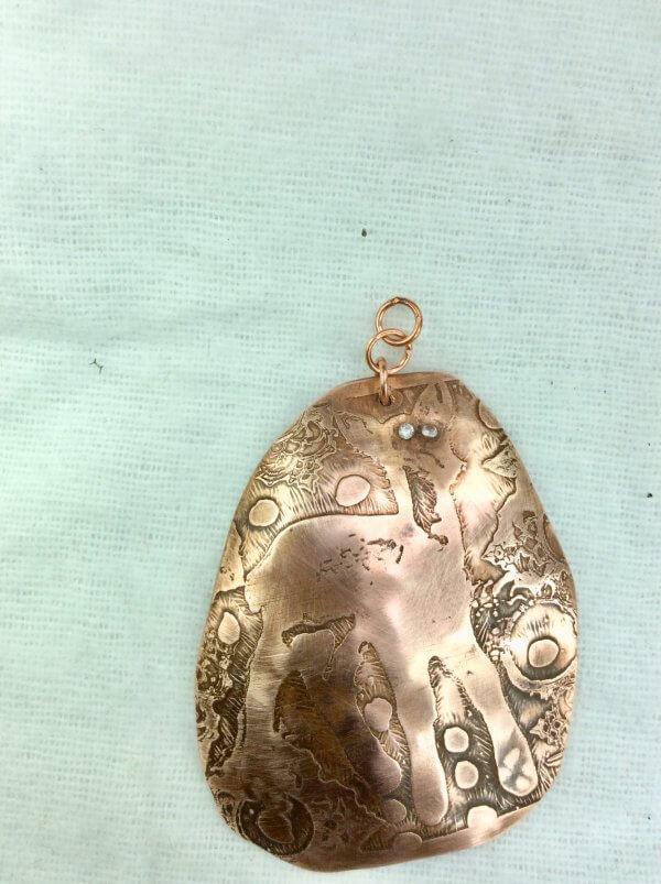 Copper etched deer, cubic zircon