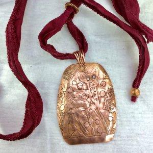 Copper etched deer, cubic zircon, silk