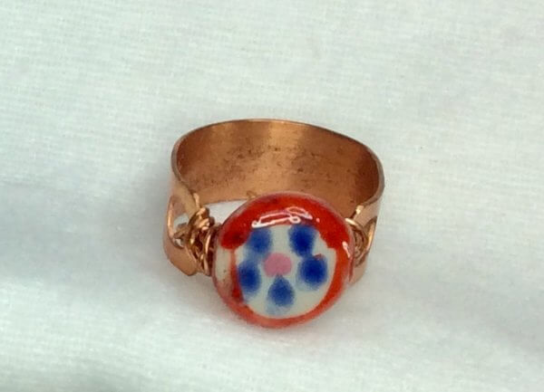 copper ring (recycled copper) handcrafted chinese porcelain