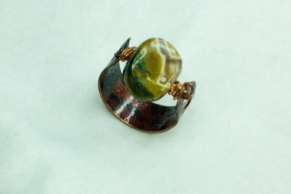 copper ring (recycled copper) ryolite stone