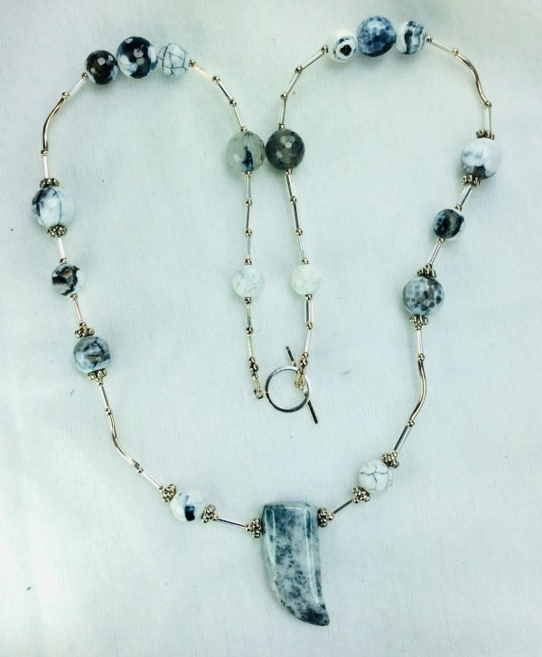 Cracked agate, silver lined bugles, sterling silver