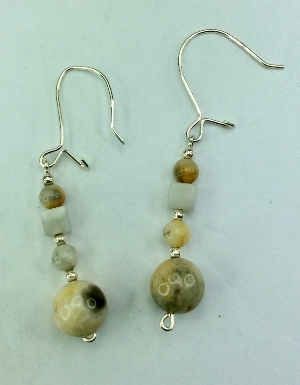 Crazy lace agate, sterling silver