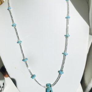 Dark aqua rainbow prase jasper, Tibet turquoise, japanese bugles and seed beads, sterling silver