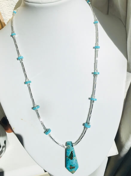 Dark aqua rainbow prase jasper, Tibet turquoise, japanese bugles and seed beads, sterling silver