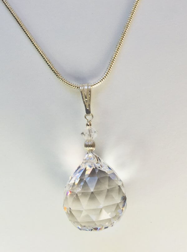 Egyptian crystal, sterling silver, sterling silver snake chain
