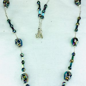 Electroplated hematite, freswater pearl, sterling silver