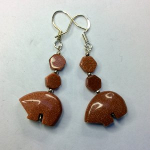 Brown Goldstone zuni bears, sterling silver
