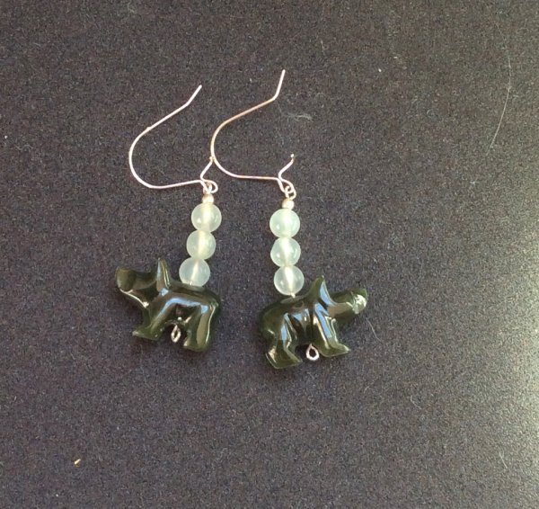 green jade bear, sterling silver