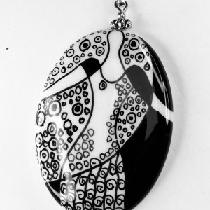hand crafted porcelain black and white, sterling silver