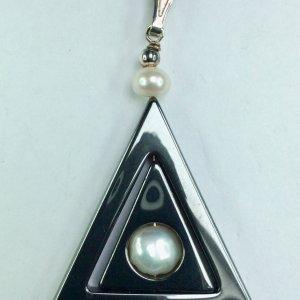 Hematite, freshwater pearl sterling silver