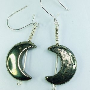 Iron pyrites, sterling silver, half moons