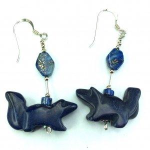 Lapis lazuli squirrel, sterling silver
