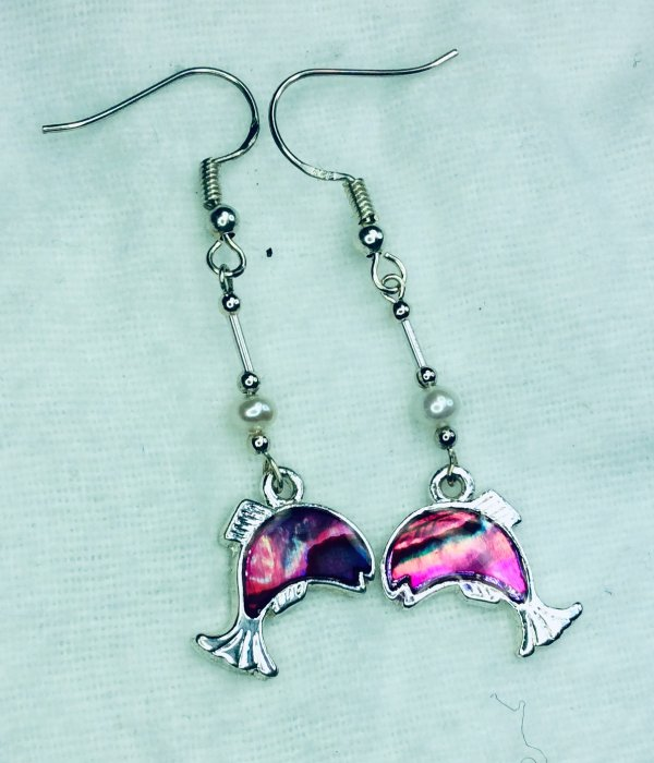 Pink abalone shell dolphin, freshwater pearls, sterling silver