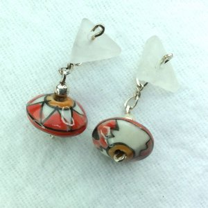 Hand crafted porcelain, flower agate, sterling silver