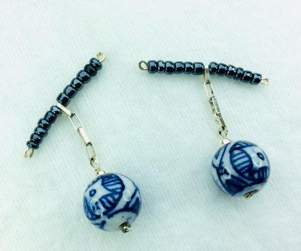 Handcrafted porcelain, blue hematite, sterling silver