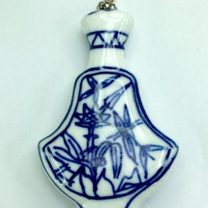 Blue and white porcelain, sterling silver