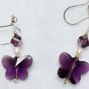 purple crystal butterfly, freshwater pearl, sterling silver