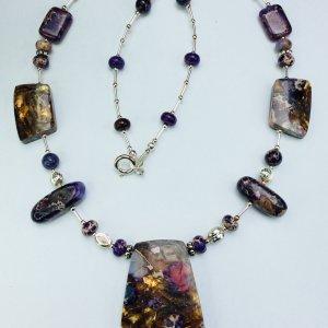 Purple Sea Sediment and Purple Impression Jasper with Bronzite, sterling silver