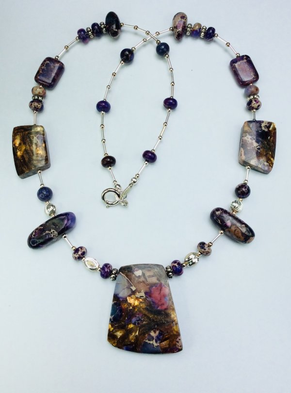Purple Sea Sediment and Purple Impression Jasper with Bronzite, sterling silver