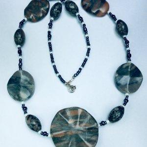 Guangdon stone, blue hematite, sterling silver