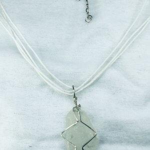 Seaglass from Macduff, sterling silver, silk