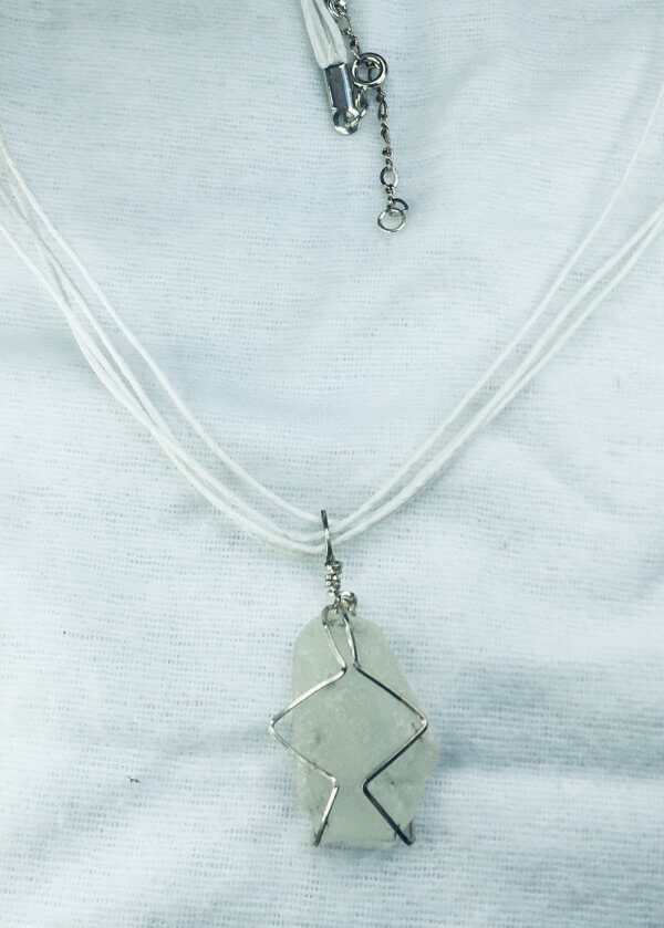 Seaglass from Macduff, sterling silver, silk