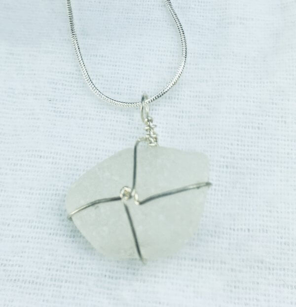 "Seaglass from Macduff, Sterling silver, 16"" sterling silver snake chain"