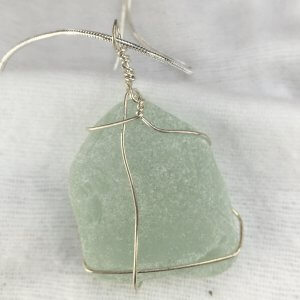 "Seaglass, from Macduff, sterling silver, 16"" sterling silver back snake chain"