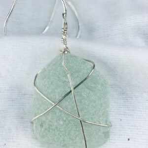"Seaglass, from Macduff, sterling silver, 16"" sterling silver snake chain"