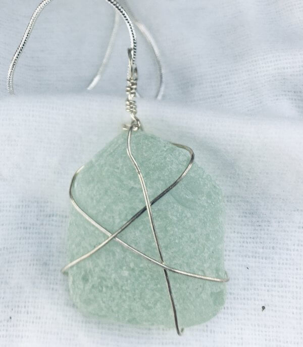 """Seaglass, from Macduff, sterling silver, 16"""" sterling silver snake chain"""