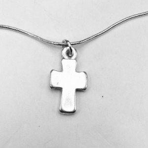 Silver cross, sterling silver snake chain