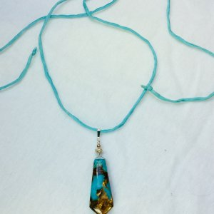 turquoise Jasper, bronzite, sterling silver, silk