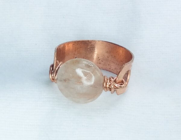 Copper (recycled copper) ring, quarts stone